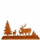 Metal forest landscape on plate, L60cm, W15cm, H3